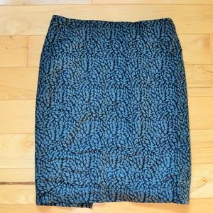 Ann taylor loft black blue pencil Skirt  sz 4